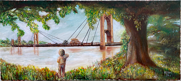 suspension bridge 180x80 cm, oil on canvas