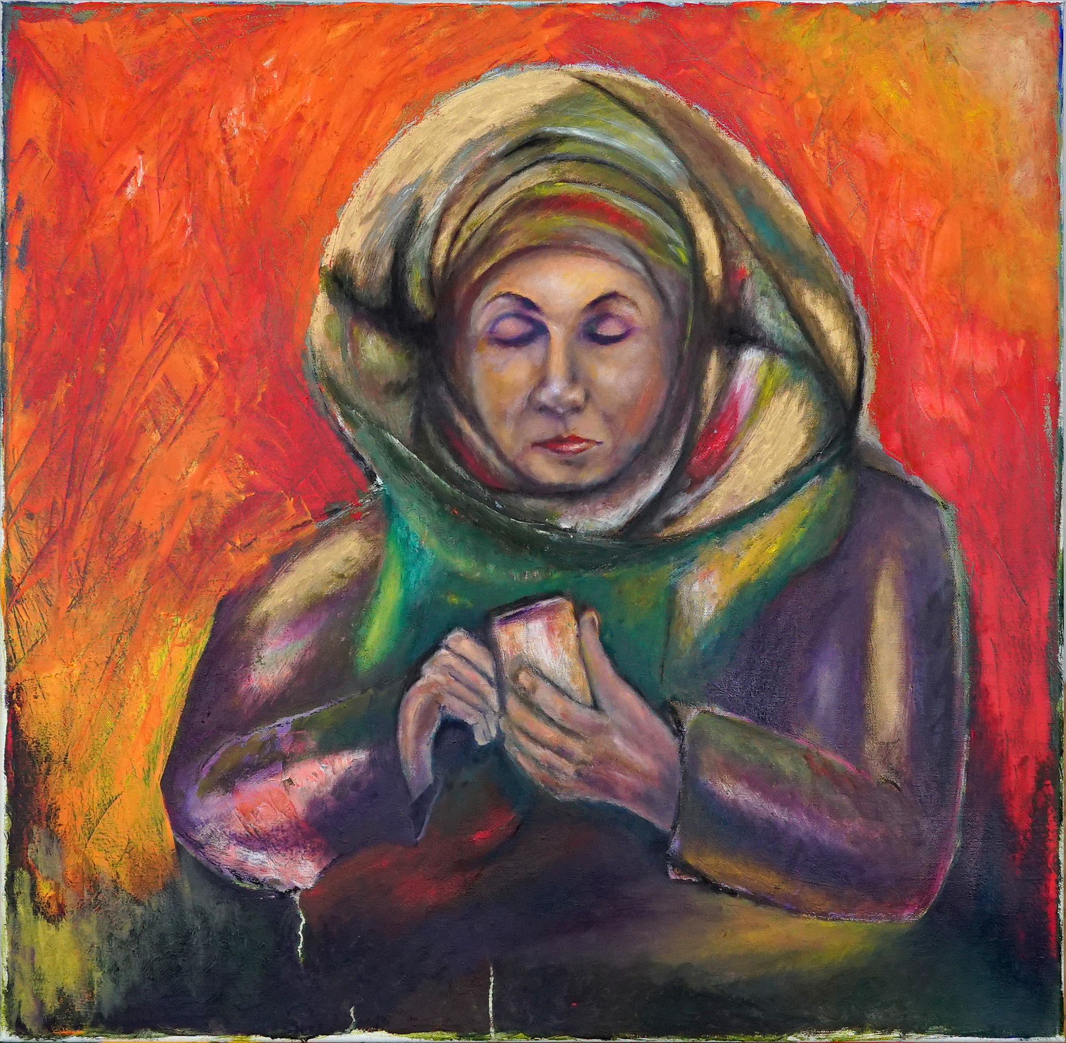 marya call 70x70 cm, oil on canvas