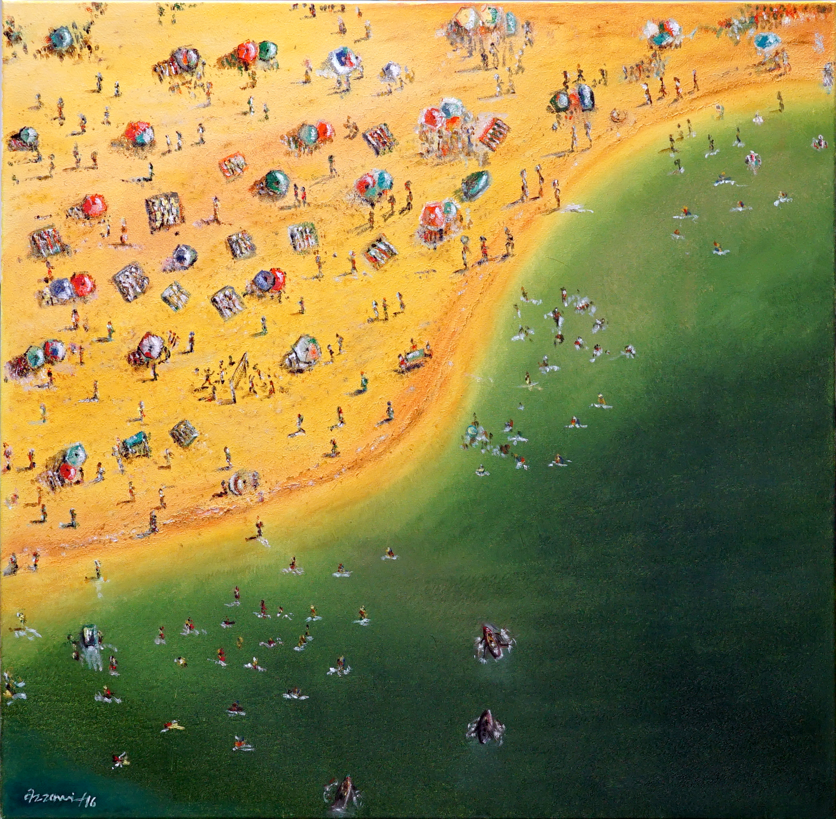 beach vacation 100x100 cm, oil on canvas