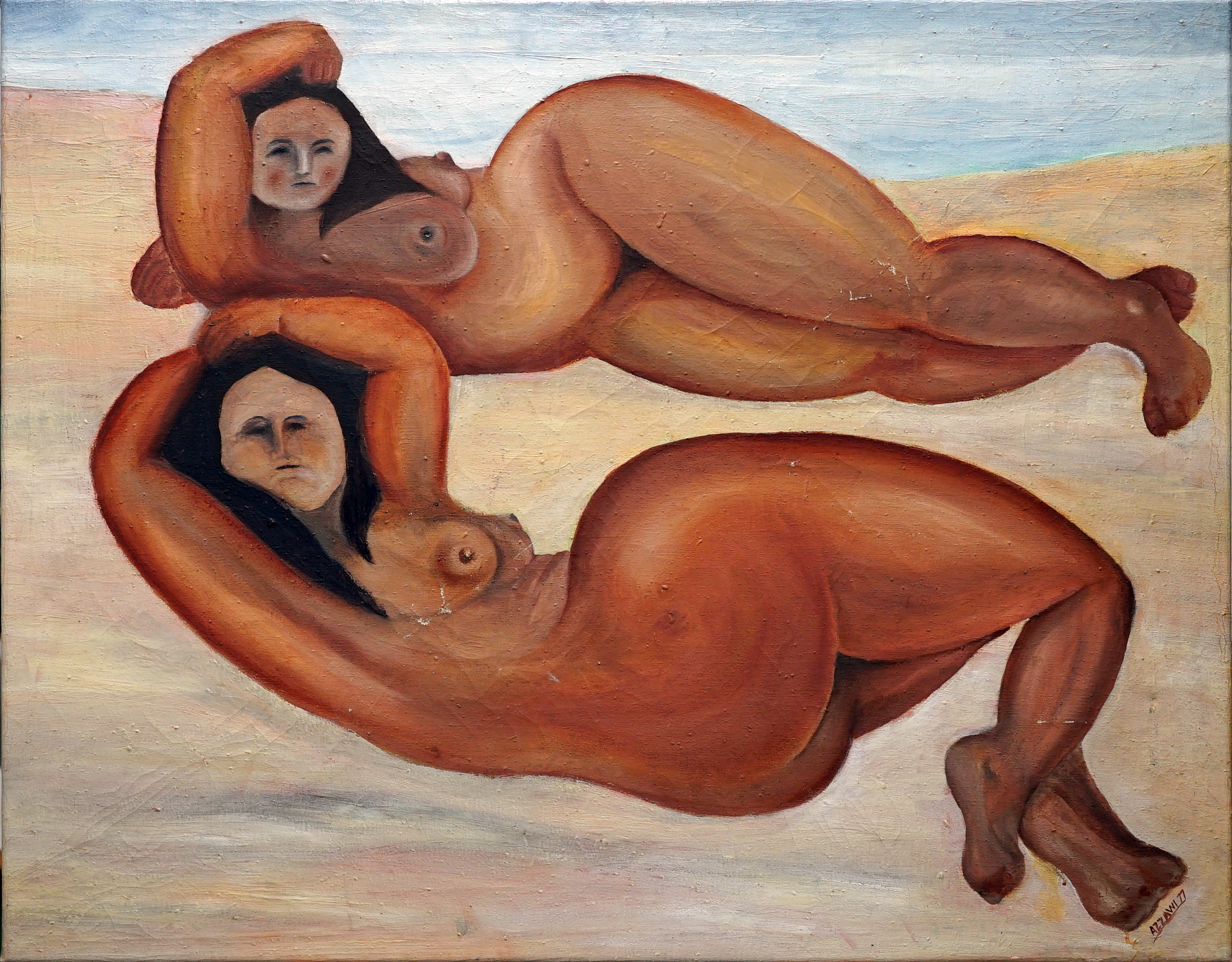 woman sunbathing 76x96 cm, oil on canvas